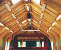 overhead radiant heaters in a church