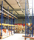 overhead radiant heaters in a warehouse